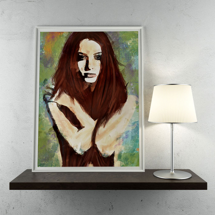 Tristesse - Digital Impressionism Emotive Portrait Wall Art by Galen Valle