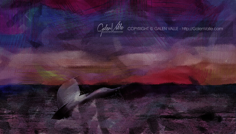 Abstract whale art by Galen Valle