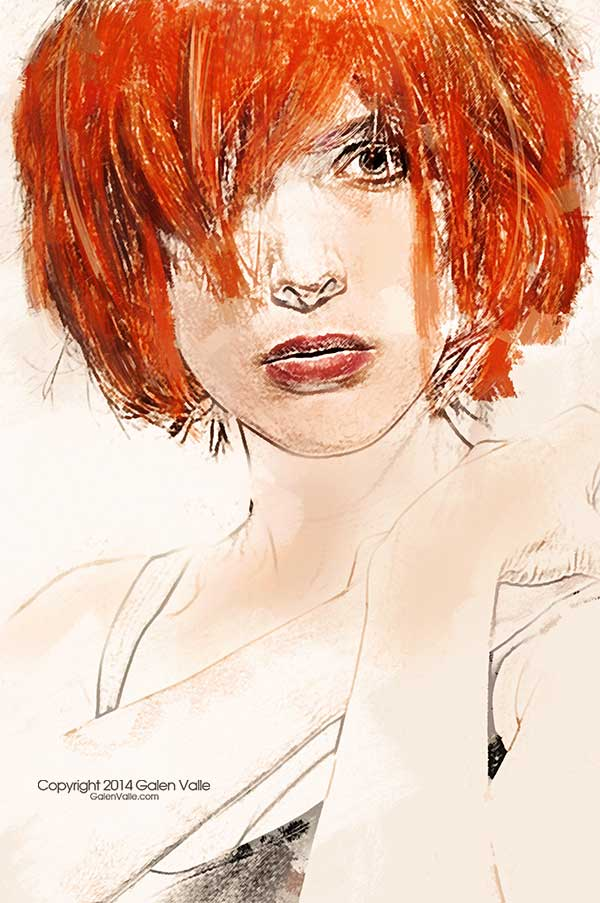 Vital - Mixed Media Redhead Portrait by Galen Valle