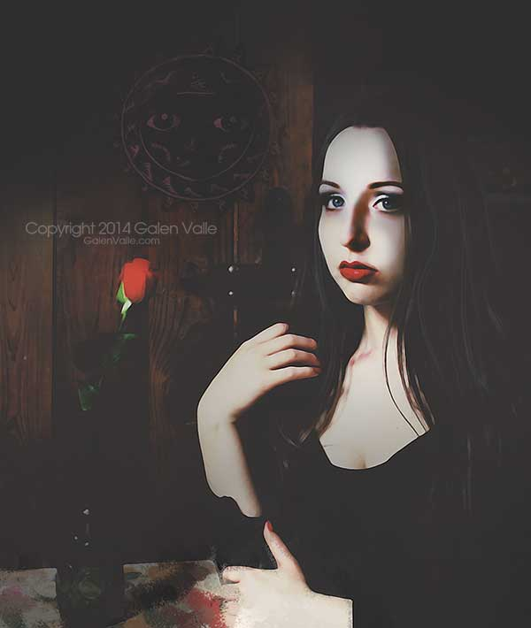 Red Rose and Promises Portrait Art by Galen Valle