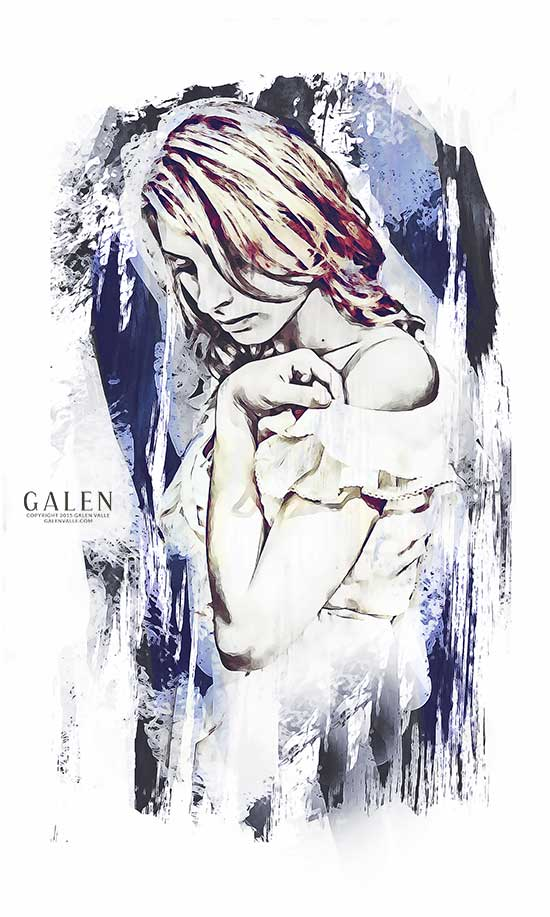 Minutes - Contemporary Abstract Portrait Art Print by Galen Valle