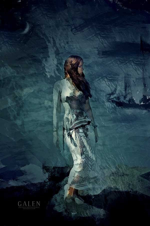 Sentinel - Ghostly Watcher on Stormy Coast Art Print by Galen Valle