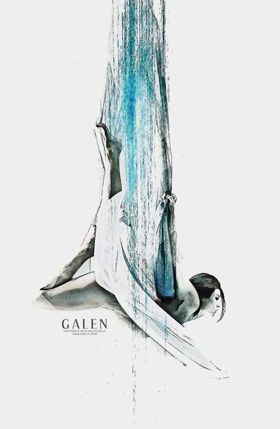 Web - Abstract Aerial Dancer Art Print by Galen Valle
